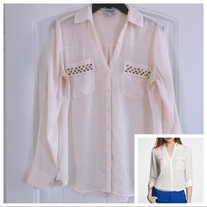 Express The Portofino Shirt w/Studs Cream White M